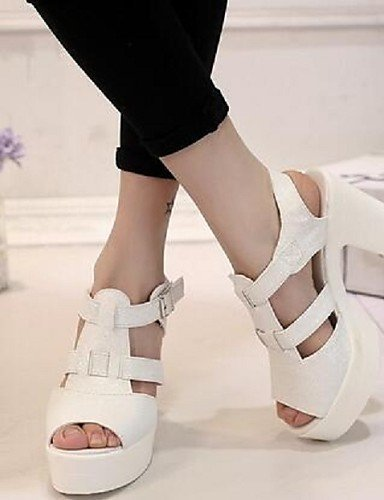 ShangYi Womens Shoes Buckle Peep Toe Dunk Low Hollow Out Chunky Heel Comfort Sandals Dress White