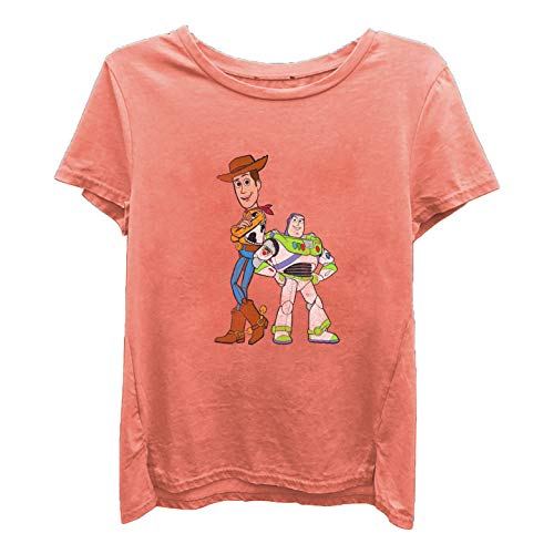 Mr Perfect Junior T-shirt - Ladies Toy Story Fashion Shirt - Ladies Classic Toy Story Tee - Buzz Lightyear and Woody Washed Short Sleeve Tee (Washed Orange, X-Large)