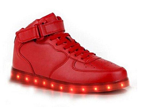 7 Wechseln Leuchtend Sportschuhe Outdoorschuhe Freizeitschuhe USB LED Present Schuhe kleines Rot Licht JUNGLEST® Sneaker Handtuch fü Laufschuhe aufladen Farbe Mode qSv6tXAw