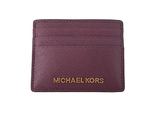 Michael Kors Jet Set Travel Saffiano Leather ID Credit Card Holder Case in Plum
