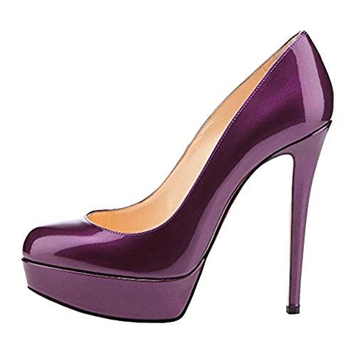 MERUMOTE Plataforma Zapatos Purple Patent mujer de 6a6Erq
