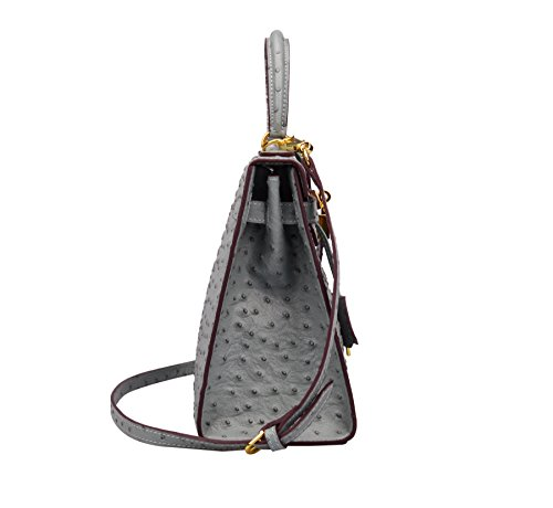 71de31ee94c8 Ainifeel Women s Padlock Purse Ostrich Embossed Genuine Leather ...