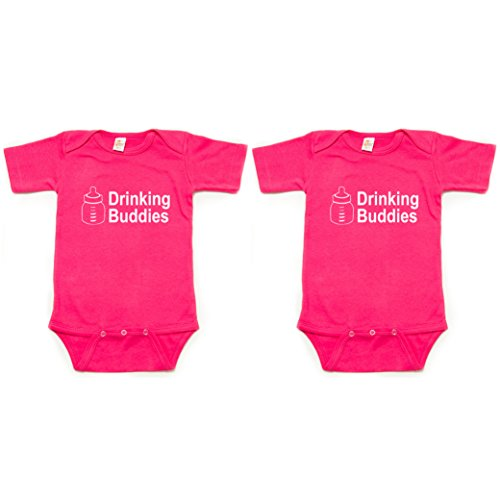 - Crazy Baby Clothing Milk Drinking Buddies Twin Set Short Sleeve Infant Bodysuit 0-3M, Fuchsia