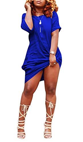 LAJIOJIO Women's Casual Midi Dresses Short Sleeve Knee-Length Club Party Dress with Pocket
