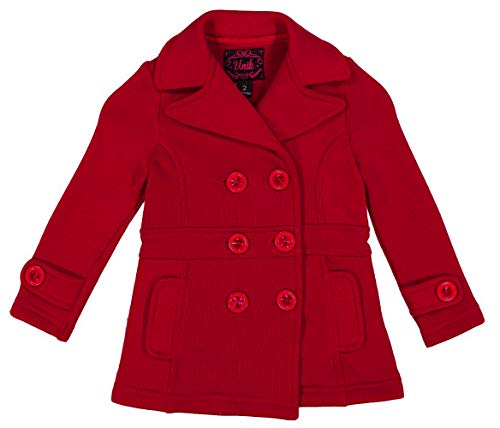 unik Girl Fleece Coat with Buttons, Red Size Small