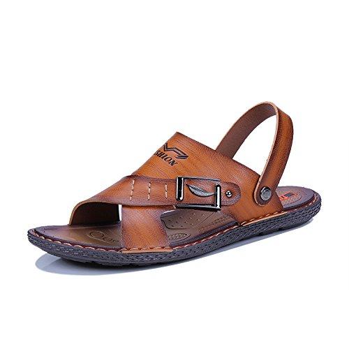 Zapatillas De Cuero Verano Punta Para Playa Con Hgdr Al Abierta Sandalias Transpirable Y Hombres Libre Senderismo Cool Aire Brown Caminata Ew5Xq7