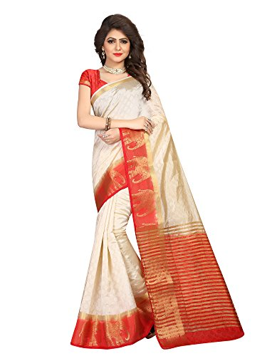 Viva N Diva Saree for Women's Cream & Red Color Silk Jacquard Saree with Unstitched Blouse Piece,Free Size