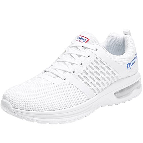 JARLIF Women's Running Shoes Athletic Breathable Sport Tennis Air Fitness Gym Jogging Sneakers (9 B(M), White)
