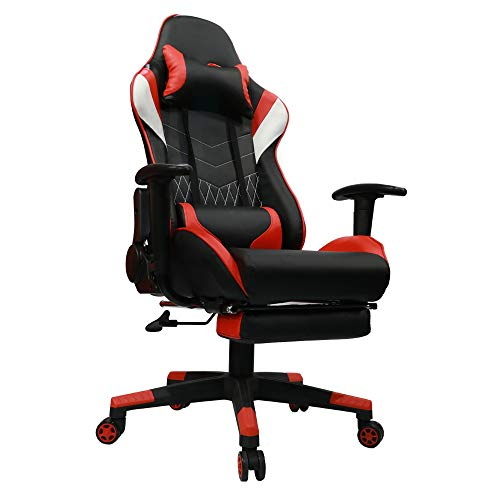 Kinsal Gaming Office Chair with Footrest Game Racing Ergonomic Backrest and Seat Height Adjustment Computer Chair with Pillows Recliner Swivel Headrest and Massage Lumbar Tilt E-Sports Chair (Red) Kinsal
