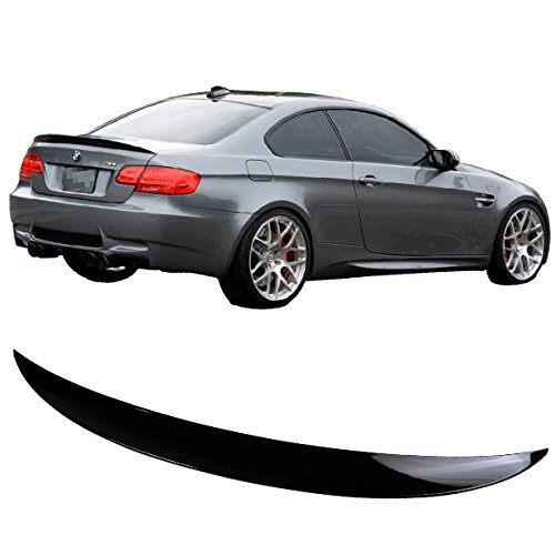 Pre-painted Trunk Spoiler Fits 2007-2013 BMW 3-Series E92 | P Style ABS Painted # 668 Jet Black Rear Tail Lip Deck Boot Wing Other Color Available By IKON MOTORSPORTS | 2008 2009 2010 2011 2012