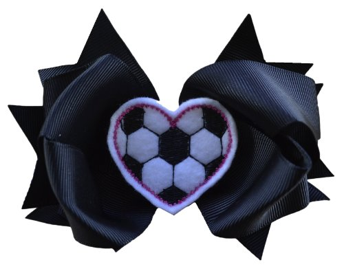 - Girls Sports 4.5 Inch Hair Bow with Embroidered Heart Appliqué by Funny Girl Designs (Black Soccer)