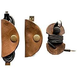 Rustic Cord Keeper (Cord Clam) & Headphone Wrap 3-Pack Handmade by Hide & Drink :: Bourbon Brown