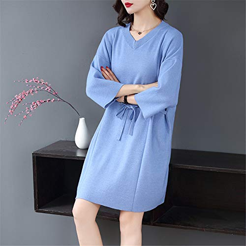 Cintura Con Corazón Suéter Flojo Gran Shirloy Sexy V De Azul Mujeres Bolsa Las En Cuello Hilo Vestido Tamaño wqXZOqnrP