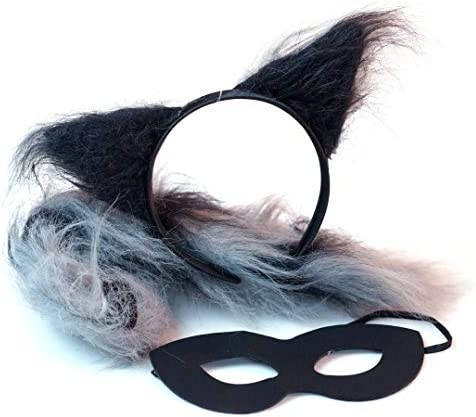 Skunk Headband Ears and Tail Costume Accessory Set Fits Adults and Kids Black//