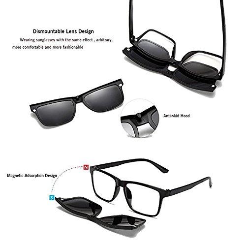 Las Gafas Gu Peggy Lentes Sol TR90 Intercambiables de con Gafas UV irrompibles de con de la Hombres Clip protección Las del para Sol de con Marco de los 5Pcs magnético los Hombres q66ZwrdP