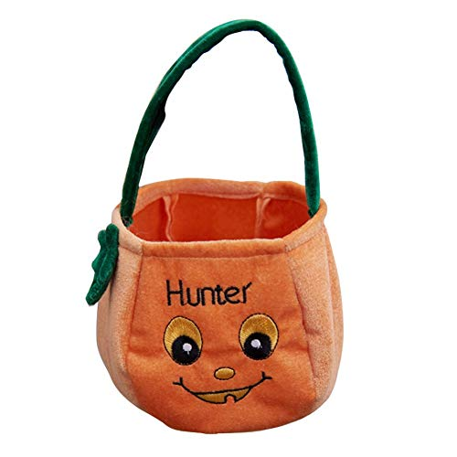 Halloween Supply Pumpkin Candy Bags, Trick or Treat Goodie Cookies Candy Baskets Bags for Kids, Sweets Gifts Party Decorations Customes Holders Linen Tote Bag with Handle, Orange 1 Pack]()
