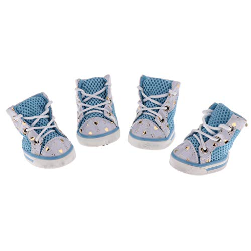 Flameer 4Pcs Non-Slip Mesh Dog Shoes Pet Rubber Boots for Dogs Outdoor Walking Keep Paws Clean - Blue L