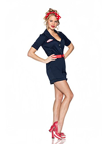 Delicious Riveting Rosie Costume, Navy Blue, Medium ()