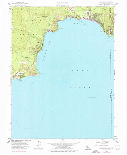 YellowMaps Kings Beach CA topo map, 1:24000 Scale, 7.5 X 7.5 Minute, Historical, 1955, Updated 1977, 26.8 x 22 in - Tyvek