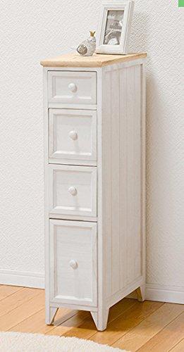 チェスト 4段チェスト ラック キッチン収納 リビング収納 完成品 アンティーク カントリー調 ホワイト ナチュラル おしゃれ (幅25cm) B07C6QD9WT 幅25cm  幅25cm