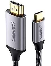 يوجرين - كابل محول يو اس بي نوع سي ذكر الي HDMI ذكر دعم 4K متوافق مع ماك بوك الجديد، ماك بوك برو، سامسونج جالاكسيS9/8، هواوي ماتي 10 وأكثر - 3 متر أسود
