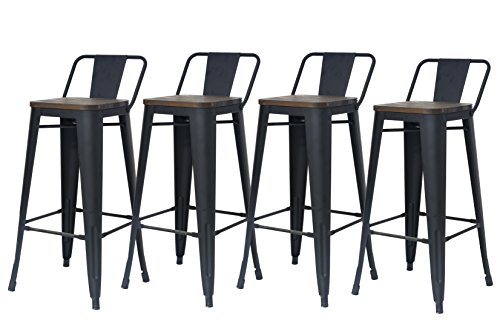 Chairus Counter Height Bar Stools Set, 30″ Modern Dining Industrial Metal Distressed Indoor & Outdoor Bar Stool Chair with Low Back & Wood Top Seat for Dining Room, Kitchen, Bar Counter – Set of 4 Review