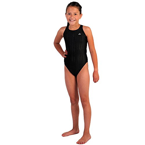 Flow Girls Swimsuit - One Piece Crossback Competitive Swimsuit Youth Sizes 23 to 30 in Black, Navy, and Blue (28, Black) - Girls Race