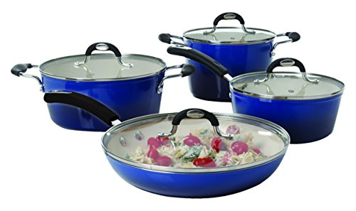 Oster 108120.08 8 Piece Gage Forged Aluminum Cookware Set With Ceramic Nonstick Interior, Blue (Oster Cookware Set compare prices)