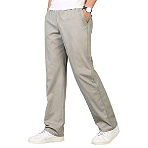 OCHENTA Men's Full Elastic Waist Lightweight Workwear Pull On Cargo Pants