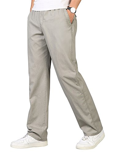 (OCHENTA Men's Full Elastic Waist Lightweight Workwear Pull On Cargo Pants #04 Khaki Tag 2XL - US 36)