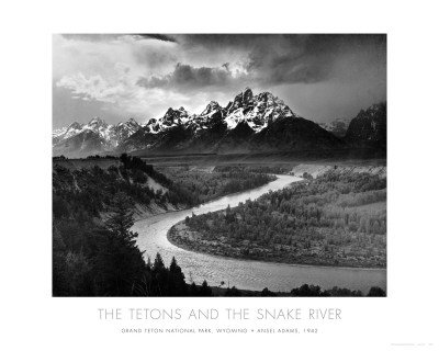Tetons and The Snake River, Grand Teton National Park, c.1942 Art Poster Print by Ansel Adams, 30x24