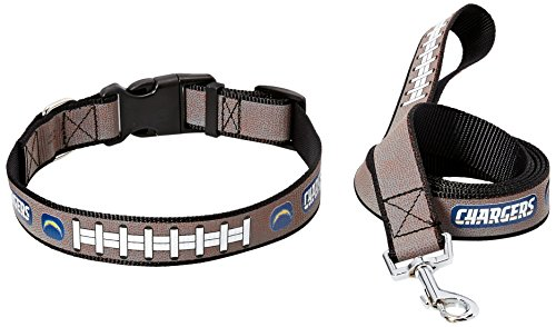 (NFL San Diego Chargers Reflective Football Collar & Large Leash Gift Pack, Medium, Brown)