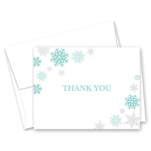 50 Cnt Snowflakes Thank You Cards (Aqua and Grey)