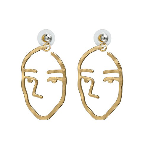 Zealmer Handmade Human Face Head Earrings Hollow Out Dangling Color Gold Stud - Shaped Diamond Face