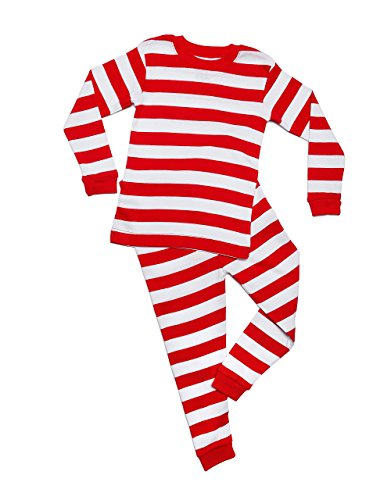 Leveret Boys Girls Christmas Striped Red & White Green 2 Piece Pajama (12M-14 Years)