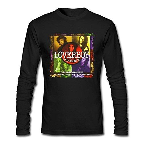 (YLINTS Men's Loverboy Classics Long Sleeve T-Shirt Size XXL Black)