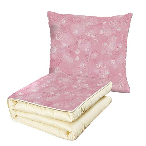 Quilt Dual-Use Pillow Light Pink Blurry Heart Icons with Flower Petals Inside Romantic Bridal Elegance Print Multifunctional Air-Conditioning Quilt Baby Pink ()