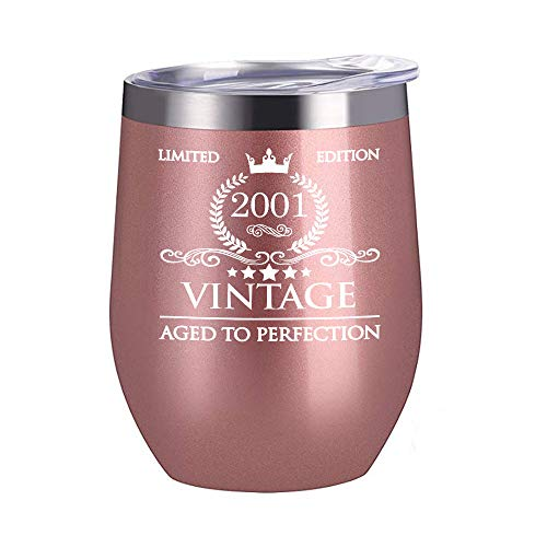 2001 18th Birthday Gifts for girls boys- 12 oz Stainless Steel Wine Glass Tumbler with Lid Party Decorations Supplies - Novelty 18th Birthday Gift Ideas for -