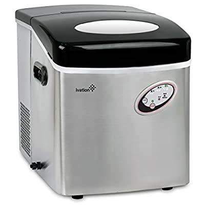 Ivation 48-Pound Daily Capacity Counter Top Ice Maker - Stainless Steel - 4.5-Liter Water Reservoir - 3 Cube Sizes - Yield 48 Pounds of Ice Daily