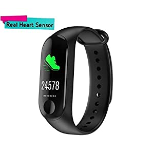 Mobivax Smart Health Activity Tracker Fitness Band 3 with OLED Heart Rate Monitor Bracelet with Screen Fingerprint Series for Xiaomi Mi 8 (Black)