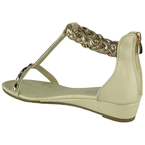 Loud Look Womens Studded Gladiator Sandals Ladies T-Bar Comfy Low Wedge Heel Shoes Size 3-8 Beige xpb0eVI26J
