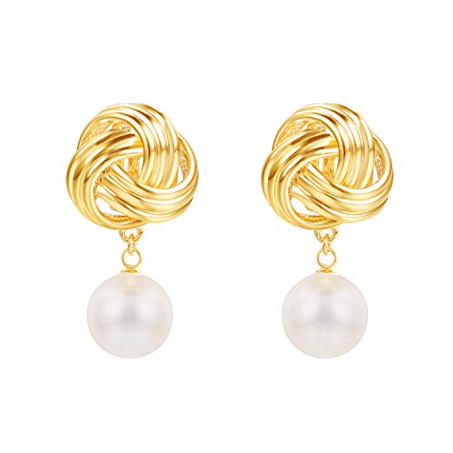 Yoursfs Knot Clip-On Earrings for Women Gold/Silver Color Big Swirl 80s Button Earrings Forever Love Clipon Earrings ...