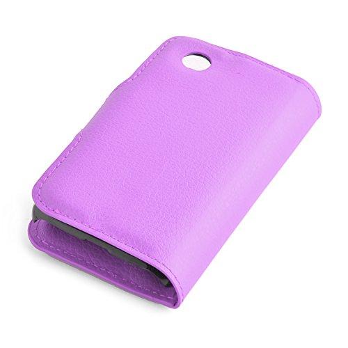 Cadorabo - Funda LG L40 Book Style de Cuero Sintético en Diseño Libro - Etui Case Cover Carcasa Caja Protección (con función de suporte y tarjetero) en NEGRO-FANTASMA VIOLETA-DE-MANGANESO