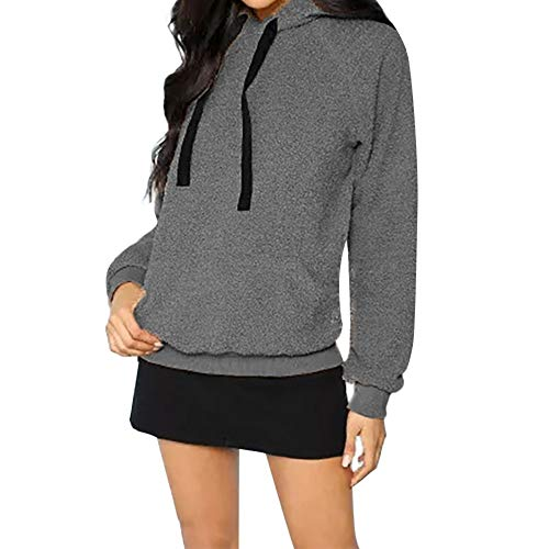 - HIRIRI Women Winter Fuzzy Fleece Coat Oversized Hooded Pullover Sweatshirt Outwear Pockets Tunic Tops Gray