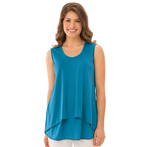 Collections Etc Women's Double Tier Layered Sleeveless Tank Top, Figure Flattering and Loose Fit, Turquoise, X-Large - Made in The USA - Turquoise Sleeveless Top