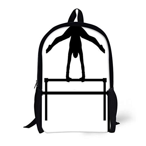 Pinbeam Backpack Travel Daypack Silhouette Uneven Bars Gymnast Acrobatic Girl Acrobat Aerobics Waterproof School Bag