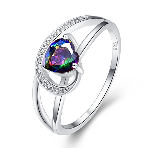 Psiroy 925 Sterling Silver Heart Created Rainbow Topaz Filled Engagement Ring