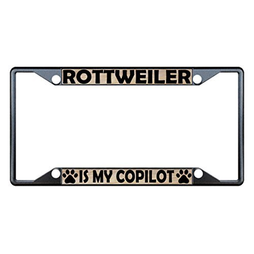 License Plate Covers Rottweiler Dogs Black Metal License Plate Frame Holder Four Holes