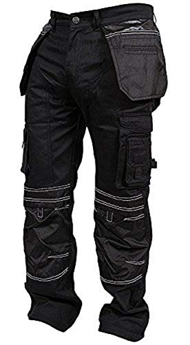Newfacelook Mens Cargo Pants Khaki Black Grey Cordura Utility Work Safety Trousers Knee Pad Pockets
