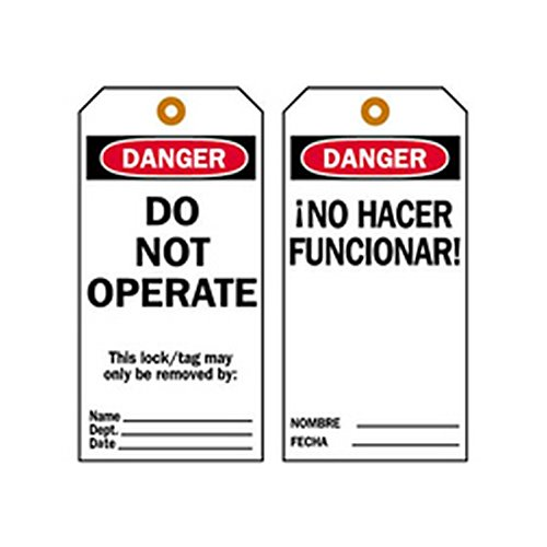 Black//White//Red Brady 65440Danger DO NOT Operate Lockout Tags 5 3//4H x 3W